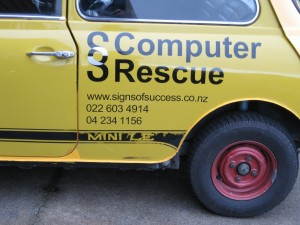 Early signwriting on SOS Mini
